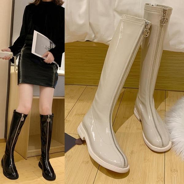 長靴女過膝秋冬新款漆皮前拉鏈高筒騎士靴平底網紅瘦瘦靴皮靴   蘑菇街小屋