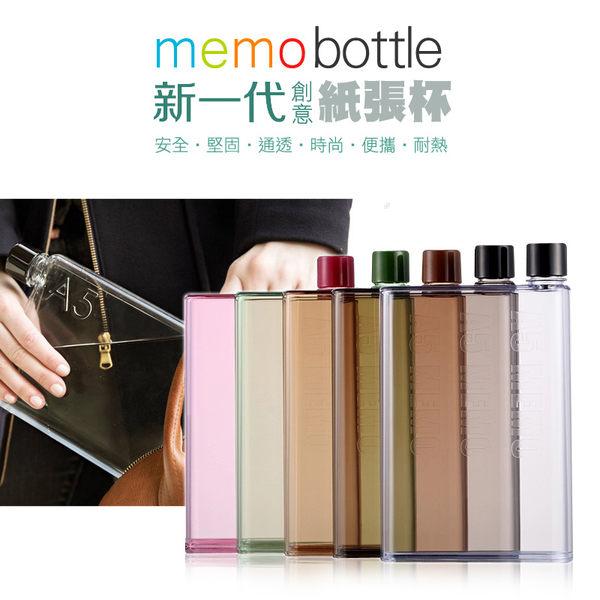 ★【五入組-加贈馬卡龍夾式風扇x1】新一代 Memo Bottle A6 320ML 創意扁平水壺/運動水瓶/寶可夢