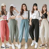 【藍色巴黎 】 韓國 透氣棉麻鬆緊縮腰寬鬆燈籠褲/哈倫褲 《5色》【23533】