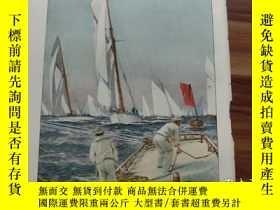 二手書博民逛書店【罕見】1890年彩色木刻版畫《大遊艇賽的開始》start de