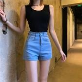 復古牛仔褲女夏季新款高腰顯瘦闊腿短褲緊身熱褲韓版chic褲子