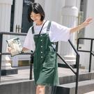 ins復古綠色牛仔背帶連衣裙女矮個子學生院風寬鬆2021新款夏韓版 依凡卡時尚