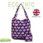 英國ECO CHIC時尚可折疊購物袋-眼鏡貓X2