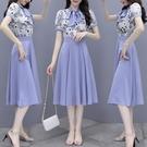 VK精品服飾 韓系印花蝴蝶結襯衫長版半身裙套裝短袖裙裝