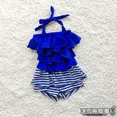 中大童兒童泳衣女孩蛋糕連體裙平角褲遮肚游泳衣條紋女童加大泳裝