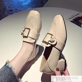 新款秋季粗跟單鞋女英倫風小皮鞋方頭中跟仙女韓版百搭樂福鞋 萬聖節狂歡