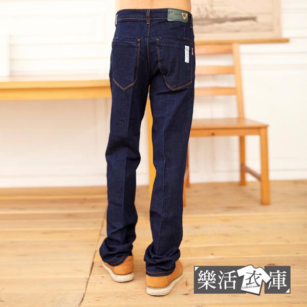 時尚布標純色伸縮中直筒牛仔褲(共二色)● 樂活衣庫【7419-7420】