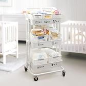 嬰兒用品置物架小推車落地多層移動新生兒寶寶臥室零食儲物收納架 橙子精品