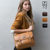 後背包1/2princess升級版復古皮革雙扣三用包側背包 後背包 手提包-3色[A2685]
