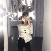 不規則裝女網紅同款韓風復古性感小心機一字肩抹胸褶皺不規則襯衫上衣 【時髦新品】