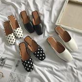 2018春夏季新款韓版粗跟方頭中跟時尚懶人鞋