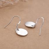 耳環:韓國氣質925純銀極簡約素面圓片耳墜  【新飾界】