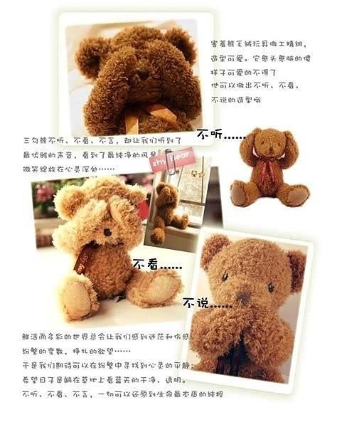 【發現。好貨】泰迪熊 害羞熊 不聽不看不說毛絨抱抱熊 生日禮物 情人節禮物