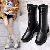 中筒靴 2021秋冬新款馬丁靴女前拉鏈透氣網紅瘦瘦短靴粗跟百搭女靴潮 3C數位百貨