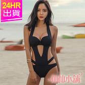 連身泳裝 黑M~XL 性感線條 一件式鋼圈連身泳衣 比基尼 溫泉SPA泡湯 仙仙小舖