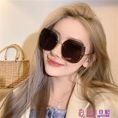 無框切邊大框方形漸變色太陽眼鏡女圓臉顯瘦韓版潮辣妹歐美風墨鏡【公主日記】