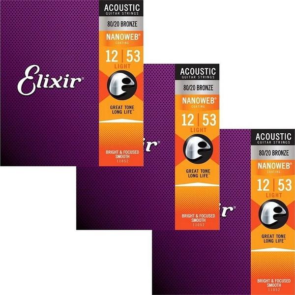 唐尼樂器︵ Elixir NANOWEB 11052 (12-53) 薄膜 黃銅 木吉他弦【3包優惠組/免運】