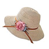 漁夫帽-條紋棉麻花朵可摺疊女遮陽帽5色73vf28【時尚巴黎】