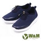W&M MODARE 素色萊卡布束帶運動鞋 女鞋-藍(另有黑/粉/灰)