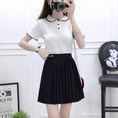 VK精品服飾 韓國學院風時尚針織衫高腰愛心刺繡百褶裙套裝短袖裙裝