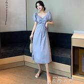 2020夏季新款氣質一字領收腰褶皺泡泡袖裙子短袖中長款洋裝女裝 米娜小鋪