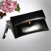 【O-ni O-ni】真皮新款韓版牛皮手拿包女士純色信封單肩包JZL-8086--黑色