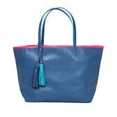 【LILI RADU】德國新銳時尚設計品牌 手工流蘇雙色時尚小牛皮肩揹包 購物包 (麗麗藍)