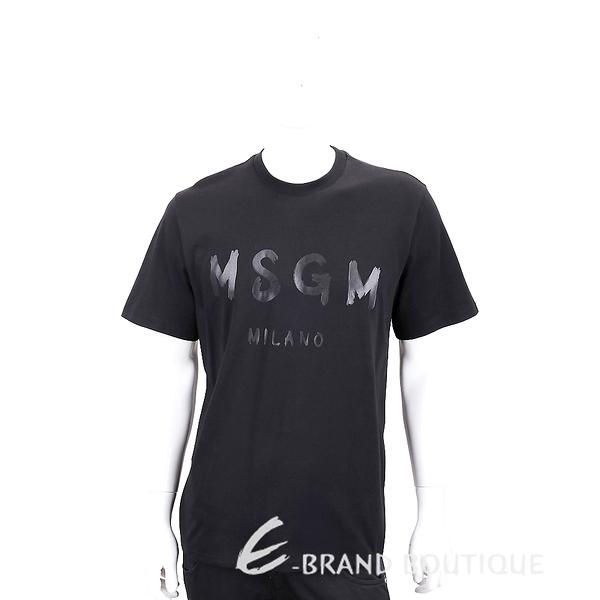 MSGM 油漆塗鴉字母黑色棉質短袖T恤(男款) 1840220-01