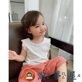 女寶寶甜美木耳邊小背心兒童無袖T恤女童裝夏季【淘夢屋】