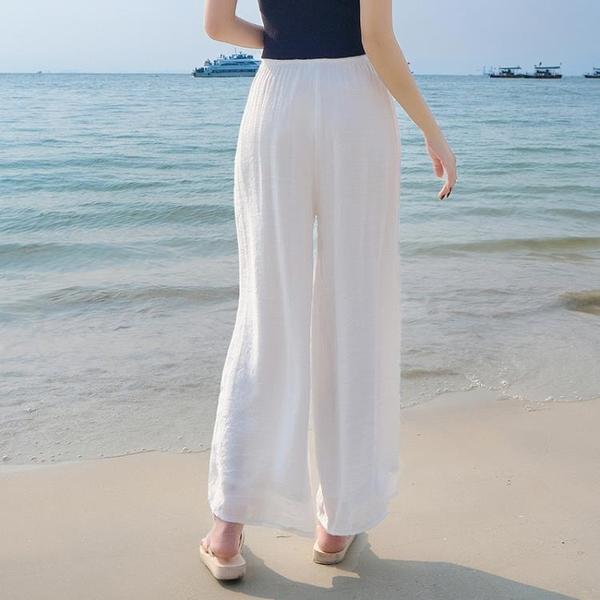白色亞麻女褲夏季薄款寬松棉麻褲垂感闊腿褲高腰麻紗長褲子直筒褲 霓裳細軟