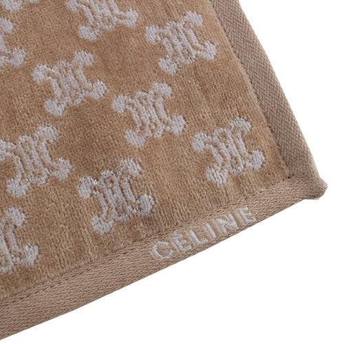 CELINE 經典滿版LOGO雙面純棉小方巾(淺駝) 989007-205