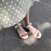 南在南方 涼鞋女夏2018新款氣質正韓純色打結漆皮一字露趾涼鞋女X