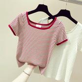針織衫 短袖T恤女2020春夏新款韓版修身一字領條紋冰絲針織衫上衣打底衫「草莓妞妞」