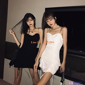 洋裝抹胸吊帶連身裙緊身包臀裙抽繩抓皺性感心機裙子【櫻桃菜菜子】