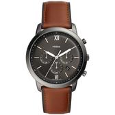 FOSSIL NEUTRA 時尚流行計時手錶-黑x咖啡錶帶/44mm FS5512