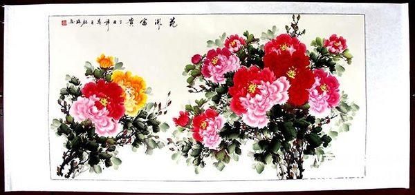 純手繪花鳥裝飾畫 花開富貴橫幅款 客廳裝飾 四尺已裝裱