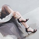 高跟鞋 夏季百搭露趾高跟鞋女細跟一字扣帶仙女風時裝涼鞋-Ballet朵朵