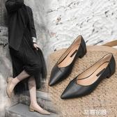 百搭瓢鞋女2019新款黑色皮鞋女上班工作鞋職業平底小跟單鞋女3cm『艾麗花園』