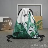 旅行印花束口袋潮流抽繩包可折疊雙肩包男女旅遊休閒運動健身背包 歐韓流行館