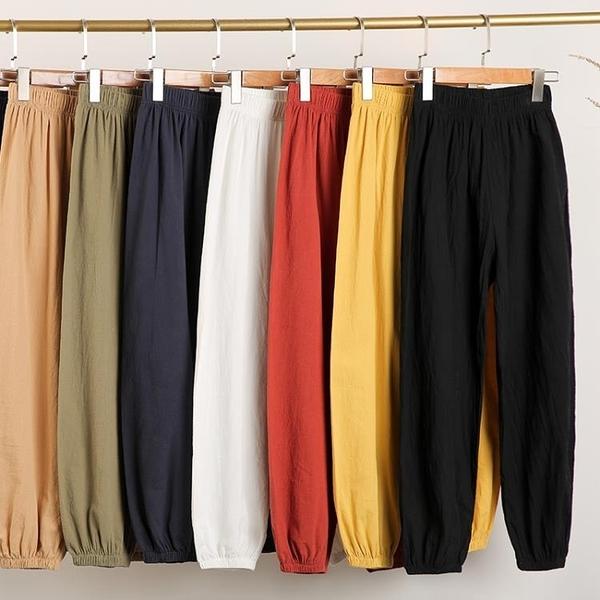 棉麻燈籠褲女2020年新款夏季寬鬆亞麻九分哈倫蘿卜褲薄款休閒褲子