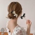 珍珠蝴蝶結髪簪簡約現代丸子頭盤髪神器U型簪子頭飾髪叉日常髪釵 髪插