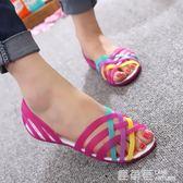 厚底楔形涼鞋 涼鞋平底水晶果凍鞋舒適塑膠洞洞鞋塑料涼鞋沙灘鞋 『鹿角巷』