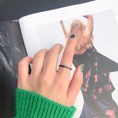 為晚簡約黑色素圈戒指女氣質韓國925純銀chic指環食指戒百搭手飾吾本良品