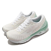 Mizuno 慢跑鞋 Wave Rider 24 Waveknit 白 綠 針織 女鞋【ACS】 J1GD2075-02