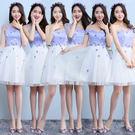 伴娘服 紫色伴娘團禮服短款韓式畢業禮服