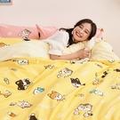 床包 / 雙人【逗柴貓黃】含二件枕套,磨毛多工法處理,戀家小舖台灣製 柴犬 貓
