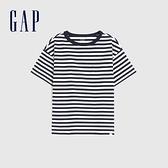 Gap男童 純棉質感厚磅短袖T恤 764972-海軍藍條紋