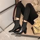 真皮女鞋34-39 2020韓版優雅顯瘦百搭頭層牛皮方頭高跟切爾西靴 短靴子 ~2色