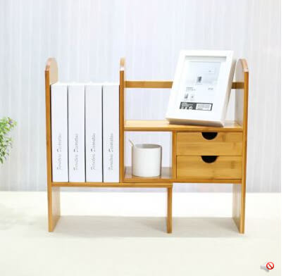 楠竹桌上書架創意電腦伸縮桌面書櫃學生簡易置物架小型辦公收納架