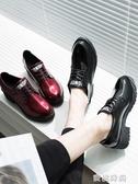 女鞋2019新款秋鞋英倫小皮鞋女士粗跟網紅百搭鞋子女秋季學生單鞋『蜜桃時尚』